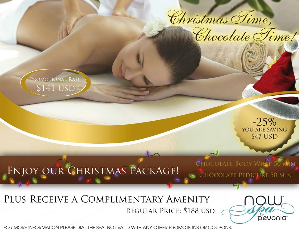 Chocolate spa treatments offered at now spa by pavonia for 12 days of christmas salon specials