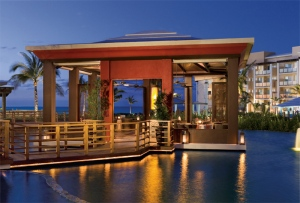 The outside view of Spice Restaurant offering Asian cuisine with fabulous views of the Caribbean.