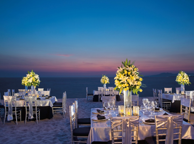 Stunning beach reception at Now Amber Puerto Vallarta.