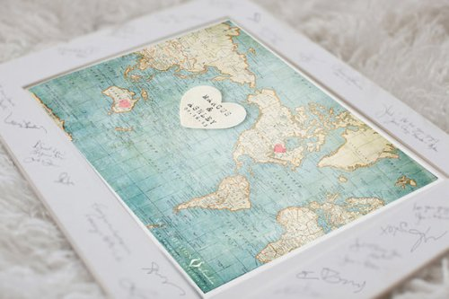 Custom map guest book by Inspired Art