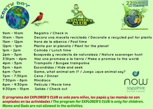 Explorer's Club Day Plan for Earth Day at Now Sapphire Resort & Spa!