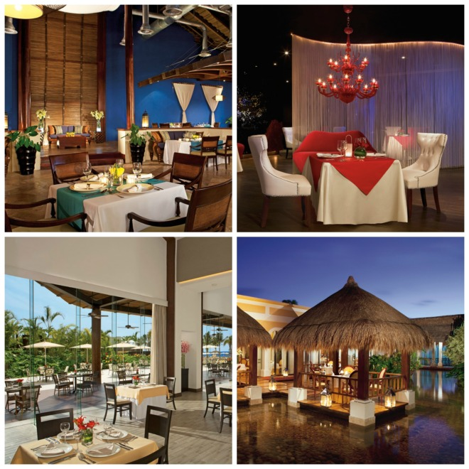 Clockwise from top left: Capers at Now Larimar Punta Cana, Cin Cin at Now Jade Riviera Cancun, Paramour at Now Sapphire Riviera Cancun, Castaways at Now Amber Puerto Vallarta.