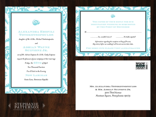 Alex & AJ's wedding invitations by Stephanie. Credit: Stephanie Patterson