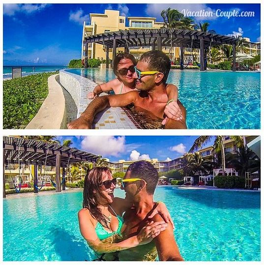 Kristin & Shadi, aka the Vacation Couple, get cozy at the Now Jade Riviera Cancun pool.